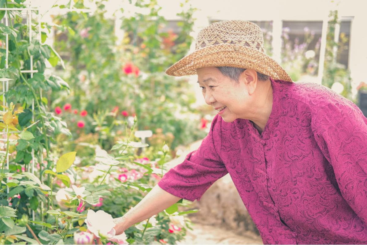 A woman gardening in a Pasadena nursing home.